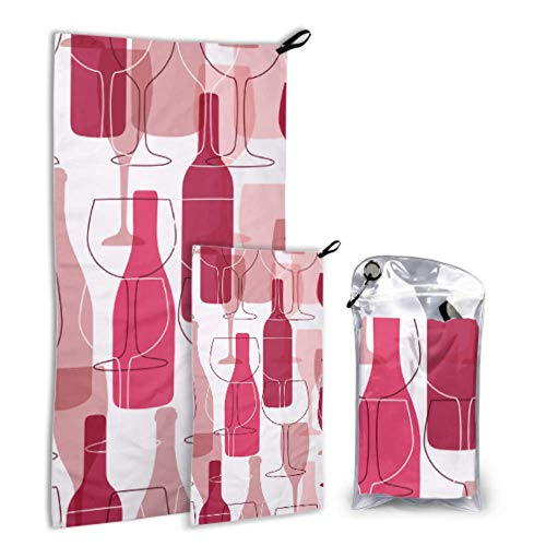 WUTMVING Wine Bottle Dringking 2 Pack Microfiber Faical Towel Teen Beach Accessories Set Fast Drying Best for Gym Travel Backpacking Yoga Fitnes
