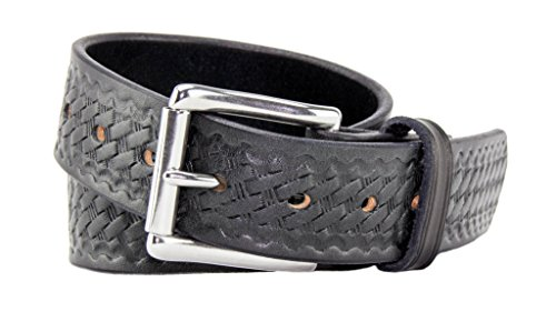Relentless Tactical The Ultimate Concealed Carry CCW Leather Gun Belt - Basket Weave Pattern -1 1/2 inch Premium Full Grain Leather Belt - Handmade in The USA! Black Size 34