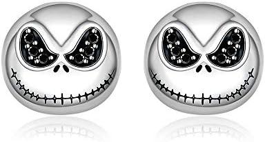 Black Skull Nightmare Before Christmas Earrings Sterling Silver Hypoallergenic Stud for Women product image