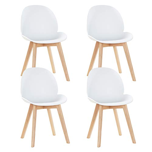 EGGREE Set di 4 Sedie Sala da Pranzo Moderne Scandinavo Design Sedia Cucina in Plastica e Gambe di Faggio, Bianco