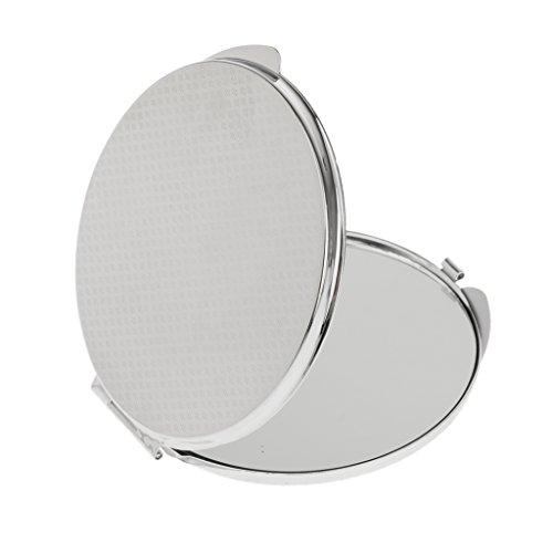 Miroir de poche Pliable Cosmétique Compact Miroir de Maquillage - Argent