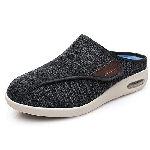 XRDSHY Zapatillas para Diabéticos para Hombres Mayores Zapatos De Casa Confort Extra Anchos para Pies Hinchados, Edema, Artritis,Black-EU42/260mm