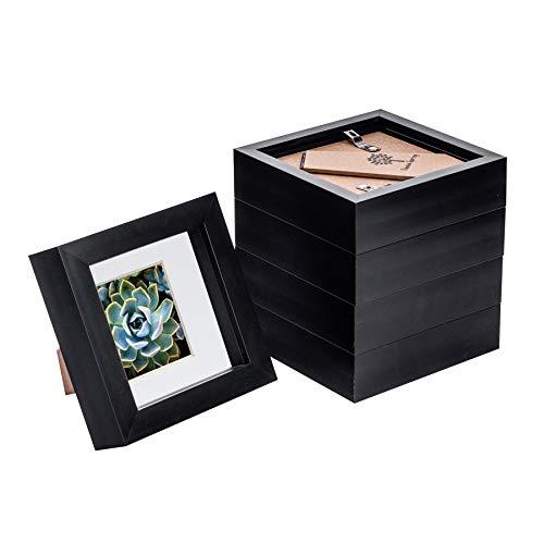 Nicola Spring 5 Stück 4 x 4 3D Shadow Box Photo Frame Set - Craft Anzeigen Bilderrahmen mit 2 x 2 Montieren - Glas Aperture - Schwarz