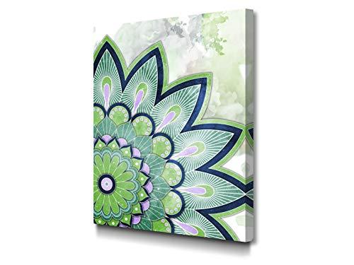 Foto Canvas Quadro Mandala | Decorazioni Pareti - Stampe su Tela Canvas - Quadri Moderni Soggiorno | 30 x 40 cm Pronto da Appendere su Una Spessa Cornice di Legno