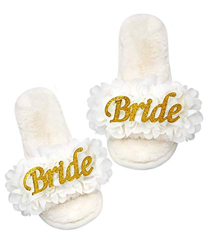 PGN ART Women's Bachelorette Party Wedding Bridal Shower Gifts For Bride To Be Gifts For Her SPA Slippers Slide On Best With Bride Robe, Sash, Pajamas, Tote Bags Decorations Novelty (Large)