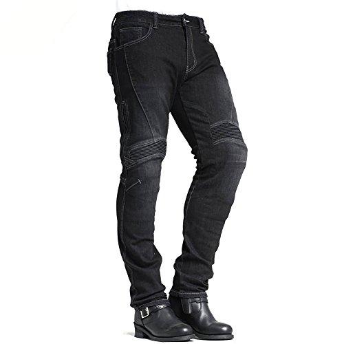 MAXLER JEAN Biker Jeans for men - Slim Straight Fit Motorcycle Riding Pants, 1604 Grey (Size 28)