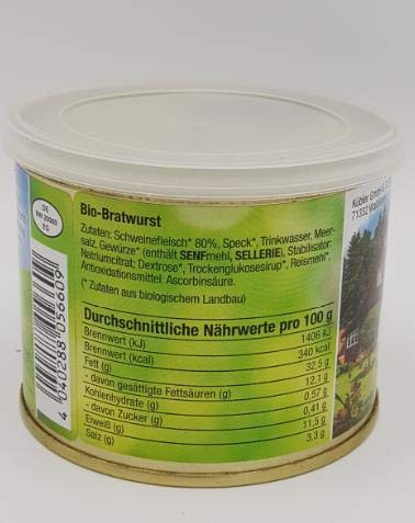 Bio Dosenwurst - Bio-Bratwurst • 2kg (10 x 200g) • Aus Deutschland • Biologische Zutaten • Tradiotionelle Bratwurst für Pfanne oder Grill • Hausmannskost • Bio-Wurst