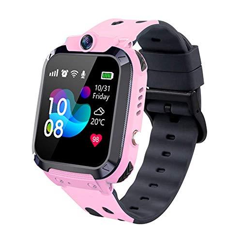 Vannico Kinder Smartwatch Telefon LBS Positionierung, Kinder Intelligente Uhr Wasserdicht IP68 SOS Voice Chat Mathe-Spiel Kamera Jungen Mädchen Geburtstags Geschenke(Rosa)