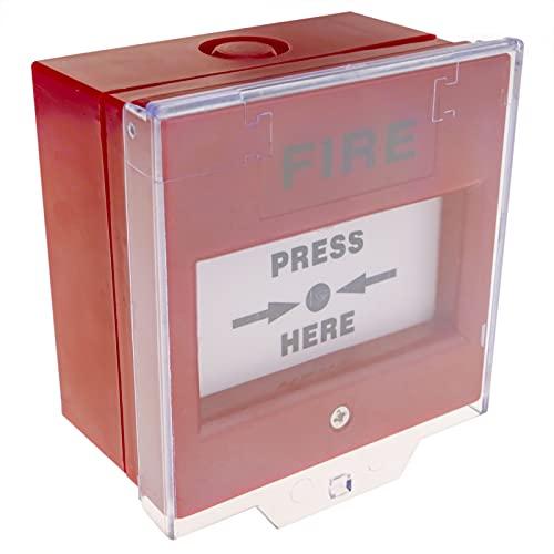 BeMatik - Pulsador Manual de Emergencia con Tapa para alarmas de Incendios