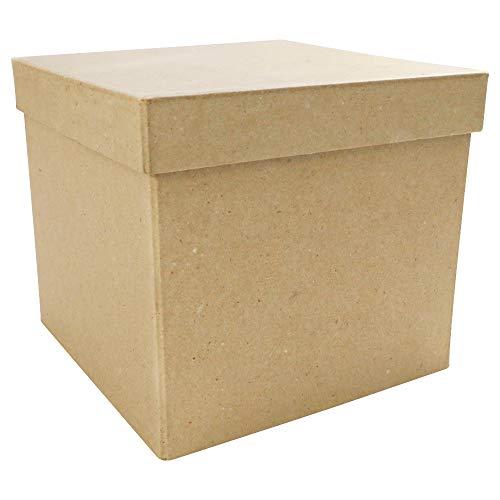 Décopatch BT039C - Un support en papier brun mâché 16x16x14 cm, Boite carrée
