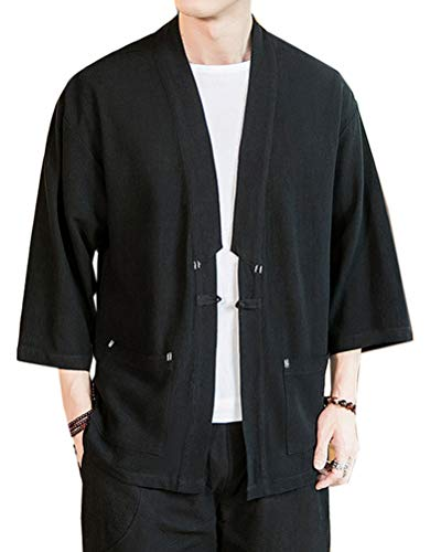Hombres Cárdigan Kimono Japonesa Haori Chaqueta Color Sólido 3/4 Manga Camisa Tops