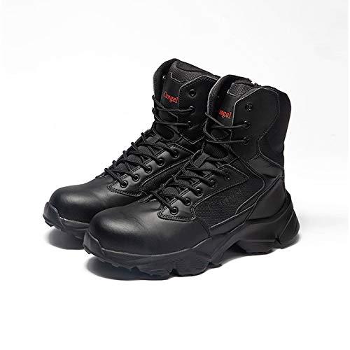 HOUJIA Zapatos de Trabajo,Zapatos de Seguridad para Hombres,Zapatos con Punta de Acero,Zapatos de Trabajo Entresuela de Kevlar,Antideslizantes,Zapatos de Seguridad para la Cocina,Botas de Trabajo