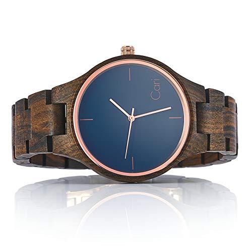 Cari Damen und Herren Holz Armbanduhr Oslo Sandelholz Braun OS-060356