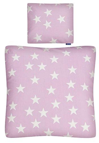 Aminata Kids - Baby-Bettwäsche-Set Bett-Decke 80-x-80-cm Kissen-Bezug 35-x-40 cm für Stuben-Wagen oder Kinder-Wagen Wiegen-Set Kinder-Decke Jungen Mädchen 100-% Baumwolle alt-rosa Rose Weiss Stern-e
