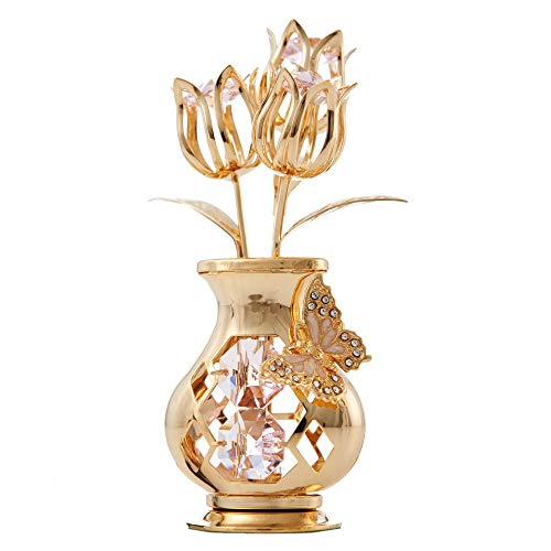 Matashi 24K Gold Plated Studded Flower Ornament in a Vase with Decorative...