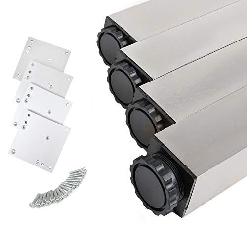 MS Beschläge® 4er Set Tischbeine Möbelfüsse Eckig 60mm x 60mm in diverse Farben Höhe 710mm (Edelstahl Optik)