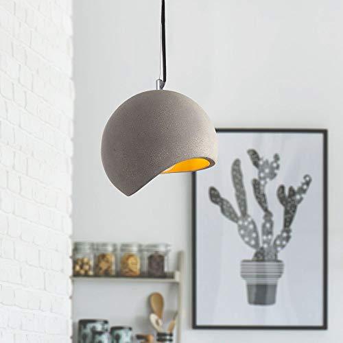 Preisvergleich Produktbild LED Pendelleuchte,  E27,  Lampe Für Wohnzimmer Esszimmer Küche,  Höhenverstellbar,  Farbe:Beton-Stein-Grau,  Leuchtmittel:Milchig - 800 Lumen / 8W
