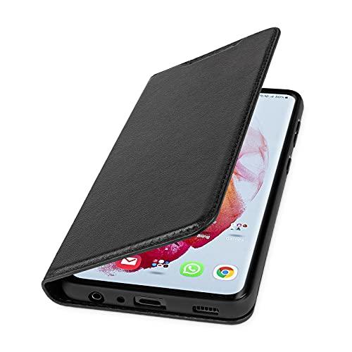 WIIUKA Hülle für Samsung Galaxy A52 / A52 5G, Lederhülle mit Kartenfach, extra Dünn, Premium Leder, Handyhülle mit Standfunktion, Tasche Schwarz