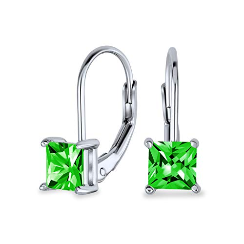 1CT Green Princess Cut Solitaire Square AAA CZ Leverback Drop Earrings For Women Simulated Emerald 925 Sterling Silver