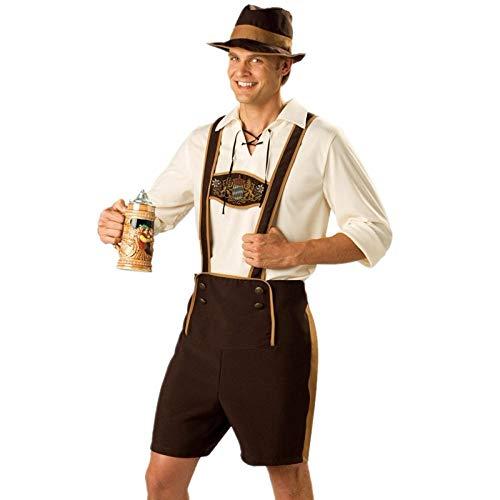 APQMR Trachtenkleider Damen S-XXXL Herren Bayerische Lederhosen Deutsches Oktoberfest Bier Mädchen Kostüm Plus Size Halloween Outfit-Männer_XXL