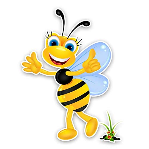 SSQ A Happy Little Bee Decorate Car Sticker Decal 14.2Cm*18.6Cm