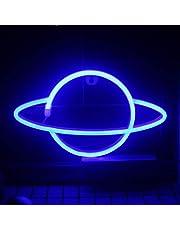 QiaoFei Led Planet Neon Licht Decoratieve Tekens Muurdecoratie, Batterij of USB Operated Lamp Planeet Neon Signs voor Baby Kids Vrienden Verjaardag Geschenken -Blauw