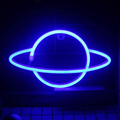 QiaoFei Led Planet Neon Light Decorative Signs Wall Decor, Battery or USB Operated Lamp Planet Neon Signs for Baby Kids Friends Birthday Gifts -Blue
