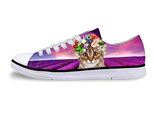Women's Canvas Shoes Lovely Cat Print Lace Up Casual Shoes Female Flats Sneakers Pink UK 5/EUR 38