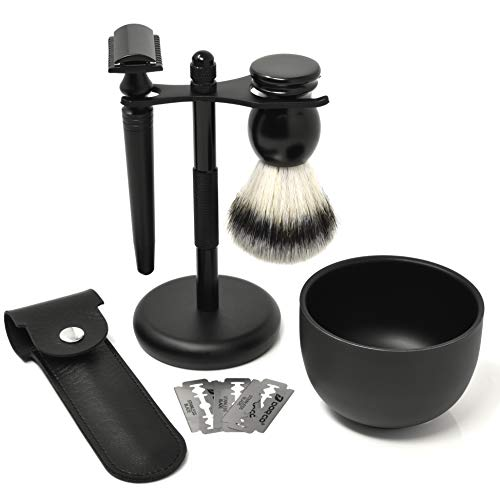 IDALIO Shaving kit for Men Double Edged Safety Razor Gift Set with Shaving Brush, Elegant Razor Case, Razor and Brush Shaving Stand, Shaving Bowl and Stainless Steel Blades