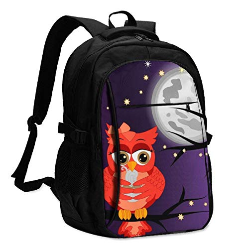 XCNGG Owls and A Clouds Travel Laptop Backpack College School Bag Casual Daypack with USB Charging Port