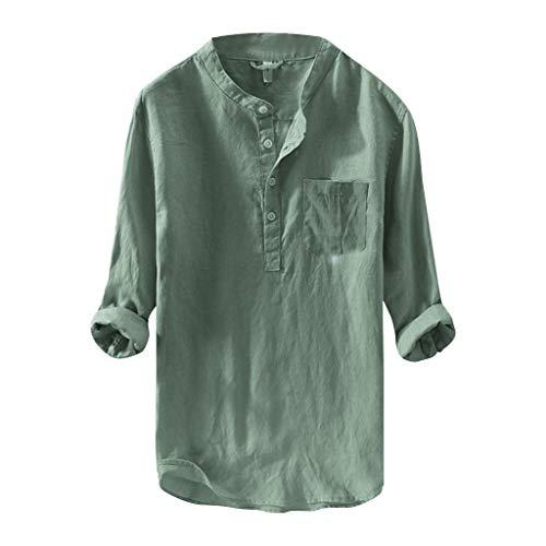 DNOQN Sport T Shirt Sweater Herren Gestreiftes Shirt Herren Mode Reine Baumwolle und Hanf Langarm Top Beiläufig Bluse Top XXL