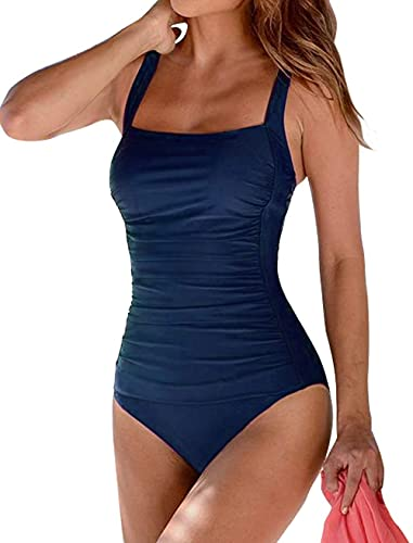 Firpearl Women's One Piece Bathing Suits Ruched Tummy Control Plus Size Swimwear 10 Navy