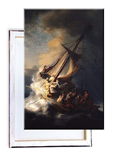 Unified Distribution Rembrandt - Christus im Sturm am See Genezareth - Klassisches Gemälde - Replik auf Leinwand 100x70 cm