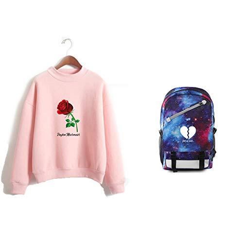 Camisa De Manga Larga para Niños Sudadera con Cuello Alto Payton Moormeier Mochila para Computadora Portátil Azul Estrellada con Puerto USB