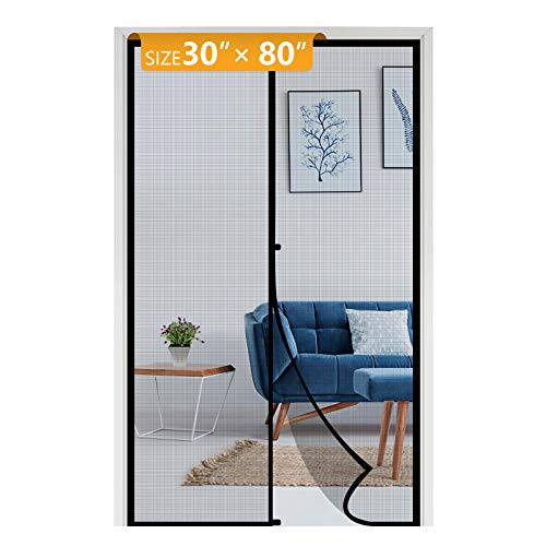 Yotache Fiberglass Magnetic Screen Door Fits Door Size 30 x 80, Heavy Duty for Entry Front Door Size 30'W x 80'H with Full Frame Hook&Loop Strip