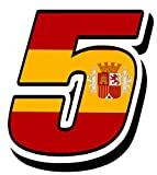 Biomar Labs Número 5 Bandera Nacional España Spain Calavera Vinilo Adhesivo Pegatina Coche Auto Motocross Moto Sport Start Racing Tuning N 285Z