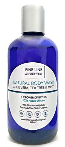 Naturel GEL LAVAGE CORPS - ALOE VERA, ARBRE À THÉ - 250 ml - de Fine Line Apothecary. Pas de Sulfates, Pas de Parabens, Pas de Parfums Artificiels. Élimine les Impuretés pour tous Types de Peau.