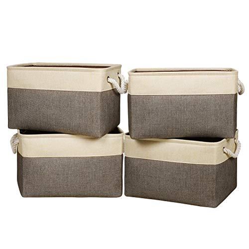 Univivi Aufbewahrungskörbe aus Leinen, rechteckig, groß, Aufbewahrungskörbe mit Zwei Griffen, Stoff-Aufbewahrungsbox für Zwei Dicke Baumwollseil-Griffe, breiter Boden, 4 Stück, braun