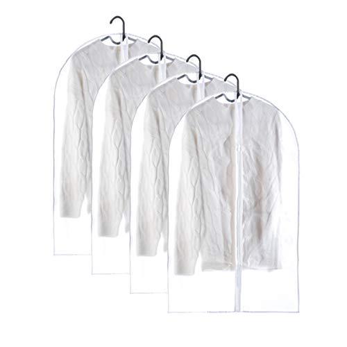 YPSOU Clothes Covers, Translucent Garment Bag, Durable Suit Bag For Suit, Coats, Dress Closet Storage(Size:60×90cm,Color:Translucent)