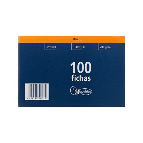 Miquelrius 3 - Fichas Lisas, 100 Unidades, 100 x 150 mm