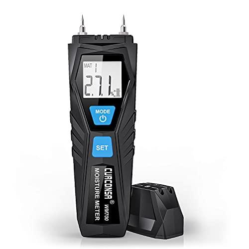 Medidor de humedad Curconsa con sonda de alta sensibilidad y medición de temperatura y humedad ambiental, puede utilizarse en madera y paredes.