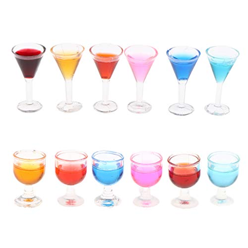 Hellery 1/12 Copas de Cóctel en Miniatura Copa de Vino Copas de Copa de Vino, 12 Piezas, Desde
