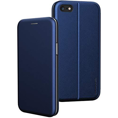 BYONDCASE Handyhülle iPhone SE 2020 Hülle Blau [Deluxe Leder Flip-Hülle Klapphülle] Cover Schutzhülle kompatibel für iPhone SE 2020 Tasche