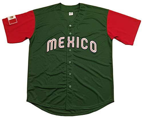 Kooy Mexico Puerto Rico Colombia Italy Cuba Venezuela World Classic Baseball Jersey Men Adult (Mexico_Green, Large)
