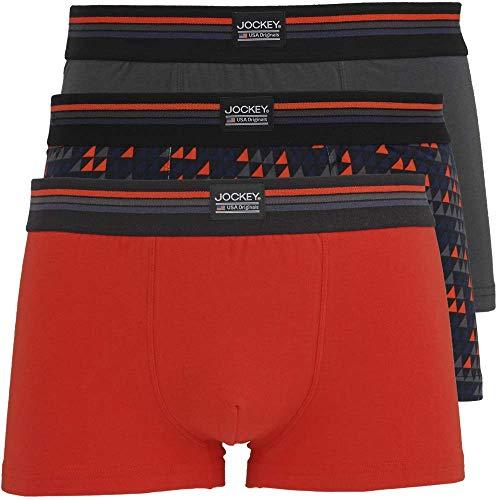 Jockey USA Originals Cotton Stretch Boxer Trunks 3 Pack - Deep Flame X Large