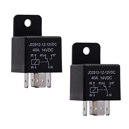 Ehdis 2 Piezas Relé para Coche 5 Pin 12V 4A Spdt Modelo No .: JD2912-1Z-12VDC 40A 14VDC, Contactor Interruptores de Arranque, 2 Paquetes