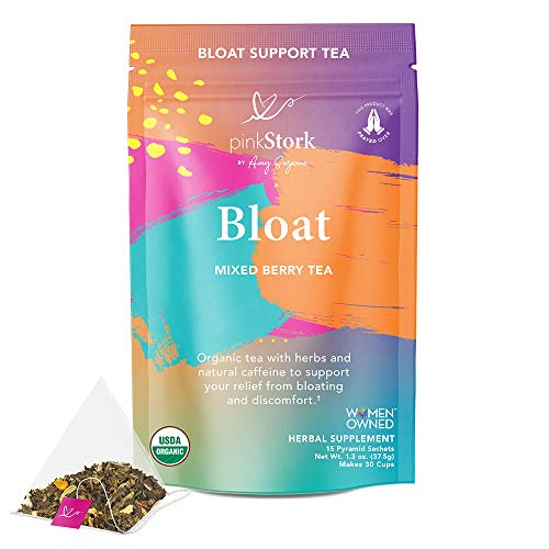Pink Stork Bloat Tea: Mixed Berry, 100% Organic, Bloating, Gas Relief, Metabolism Support, Weight Loss, Energy, Indigestion, with Turmeric + Ginger for Detox, Women-Owned, 30 Cups
