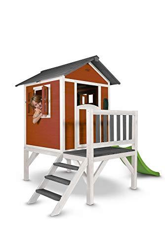 Beauty.Scouts Holzspielhaus Sun XL mit Leiter + Rutsche 168x261x189cm aus Holz in rot-weiß Kinder Kinderspielhaus Holzhaus Stelzenhaus Liebe zum Detail