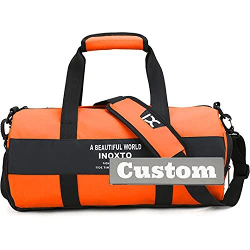 Personalizzato Nome Donne Tote Gym Impermeabile Duffel Bag Borsa Borsa Tasca Palestra, Arancione, Taglia unica,