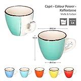 MamboCat 18-teiliges Kaffee-Service Colour Power Capri I buntes Kaffee-Geschirr-Set für 6 Personen I Steingut-Geschirr mit je 6X Tassen - Unterteller - Kuchenteller I Kaffeeservice bunt 18 Teile - 4